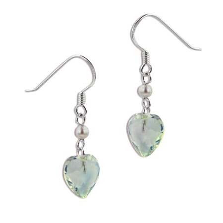 Aurora Borealis Crystal Heart and Pearl Bead Sterling Silver Hook Earrings