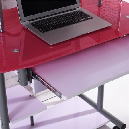 Hodedah Tempered Glass Computer Desk in Pink - image 1 de 6