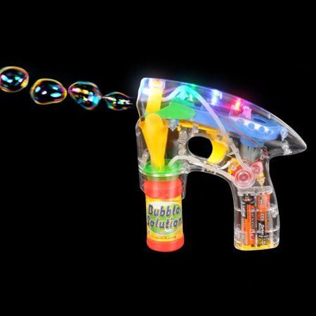 LIGHT-UP LED BUBBLE GUN BLASTER w/ BUBBLES AND BATTERIES with 2 Bottles of Bubbles