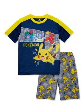 Pokemon Boys Exclusive 4-12 Short Sleeve Short Pant, 2-Piece Pajama Set