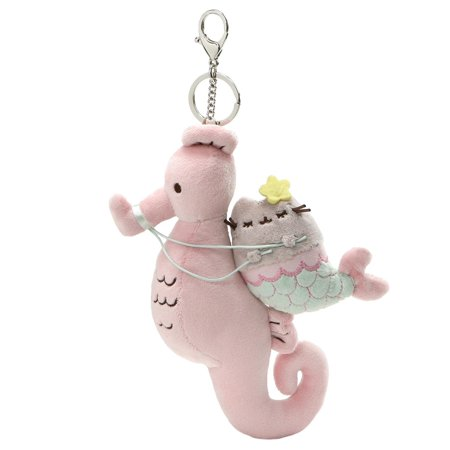 GUND Pusheen Mermaid and Seahorse Magical Kitties Plush Deluxe Keychain Clip, Multicolor, 8.5