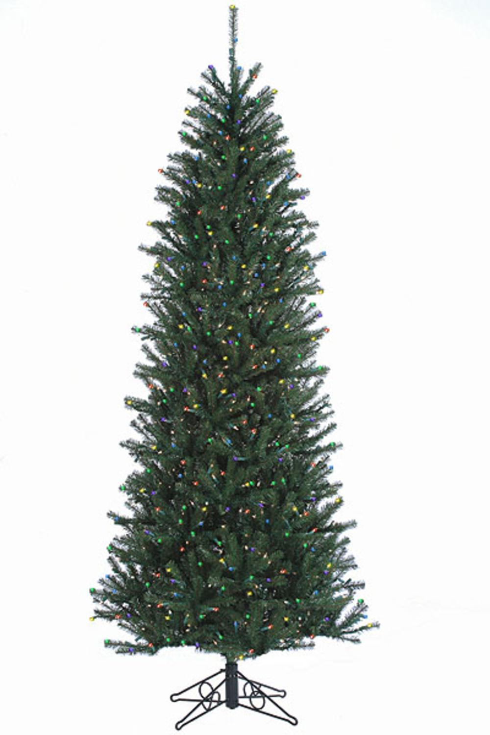 12' Slim Alexandria Pine Pre-Lit Artificial Christmas Tree - Multi Lights