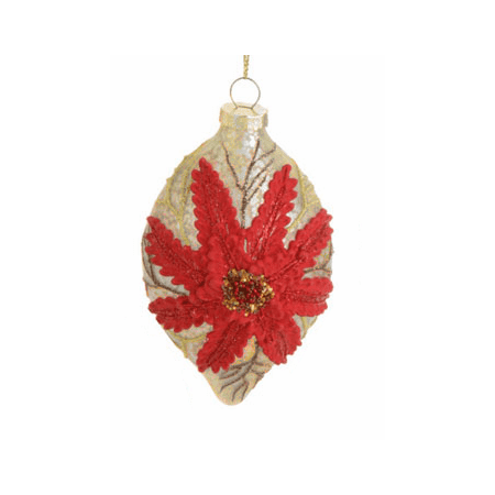 "Raz Imports 4.5"" Antique Chic Poinsettia Glass Drop Christmas Ornament - Red/Gold"