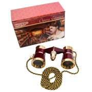 3 x 25 Opera Glass Binocular Burgundy with Gold Trim w/ Necklace Chain with Red Reading Light plus Coaster