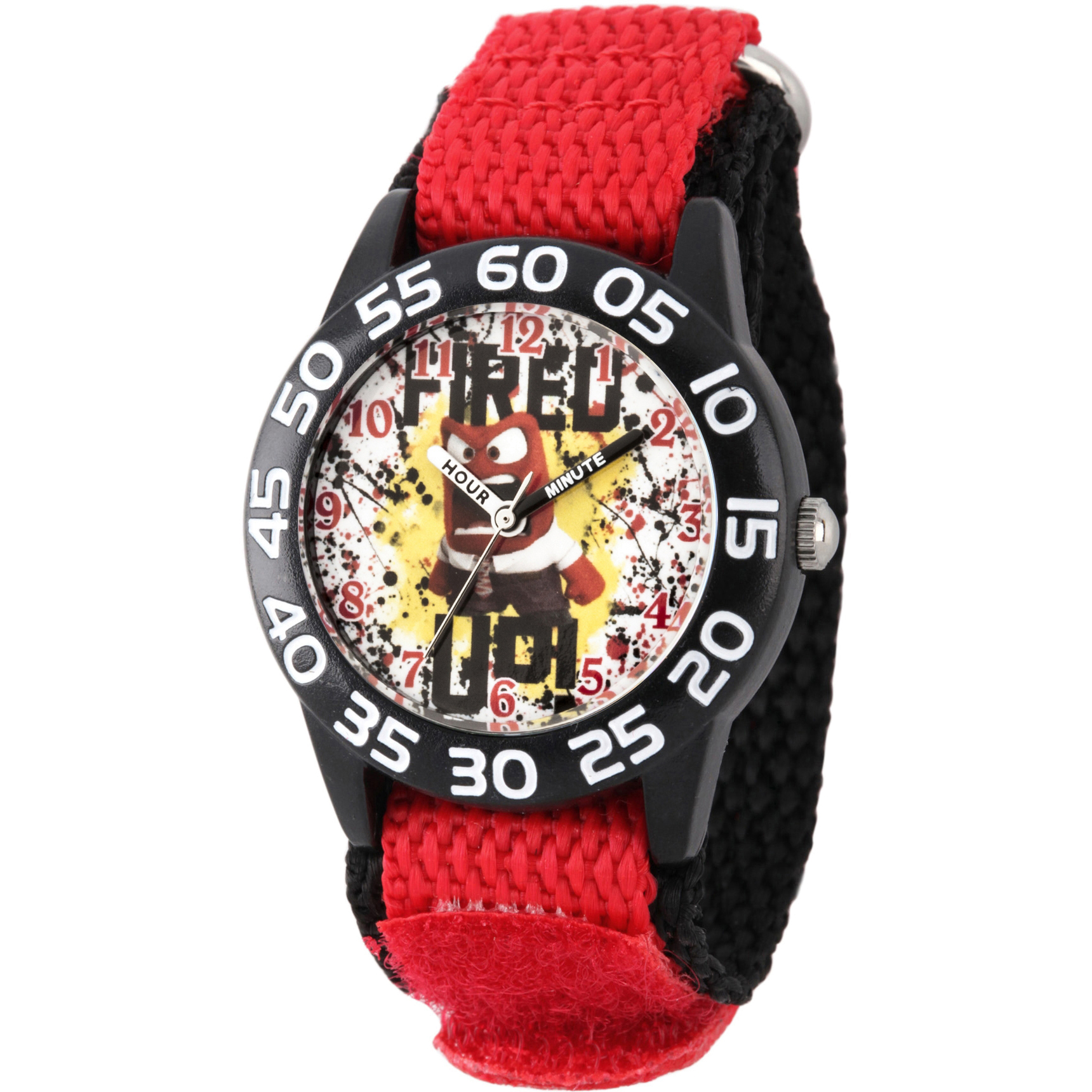 Disney Inside Out Anger Boys' Black Plastic Time Teacher Watch, Red Hook and Loop Nylon Strap with Black Backing