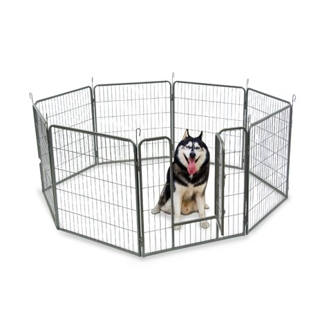 Top Knobs Heavy Duty Metal Pet Dog Puppy Cat Exercise Fence Barrier Playpen Kennel, Outdoor & Indoor, 8 Panels