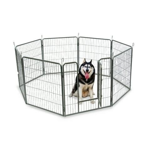 Top Knobs Heavy Duty Metal Pet Dog Puppy Cat Exercise Fence Barrier Playpen Kennel, Outdoor & Indoor, 8 Panels