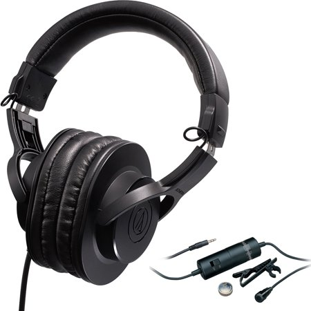 - Audio-Technica Professional Monitor Headphones (ATH-M20X) with Audio-Technica Omnidirectional Condenser Lavalier Microphone