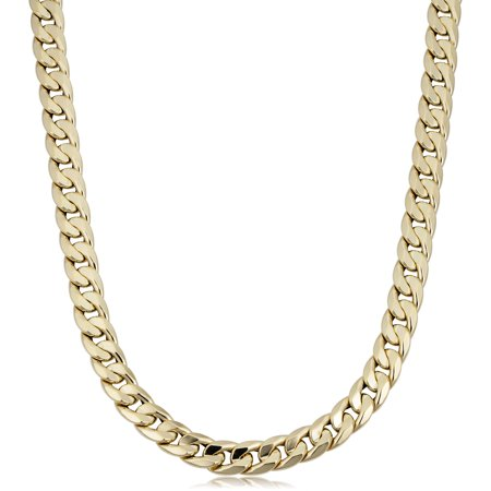 - 14k Yellow Gold Miami Cuban Curb Hollow Link Mens Necklace, 22