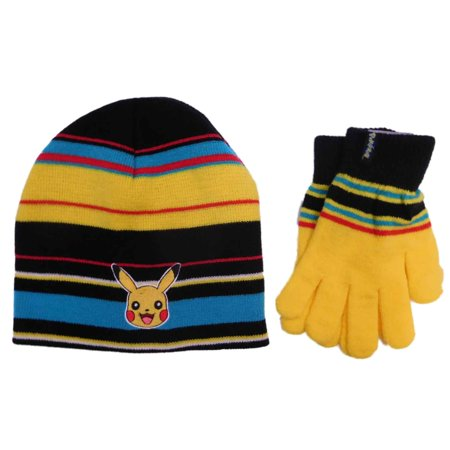 Pokemon Boys Colorful Striped 2-Piece Pikachu Beanie Hat   Gloves Set -  Walmart.com 3debb4d0410