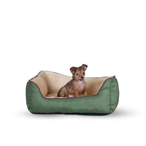 k&h manufacturing self-warming heated lounge bolster dog bed