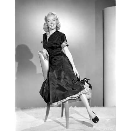 Audrey Totter posed on Chair with Black Dress Photo - Trotter Photos