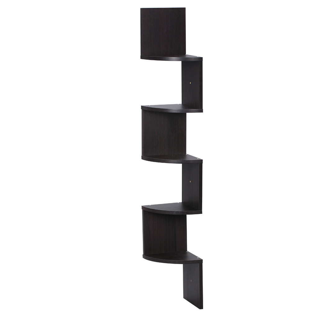 Finether Wall Corner Mounted Shelving Bookcase Storage Organizer,5-Tier Zig  Zag Floating,Espresso - Walmart