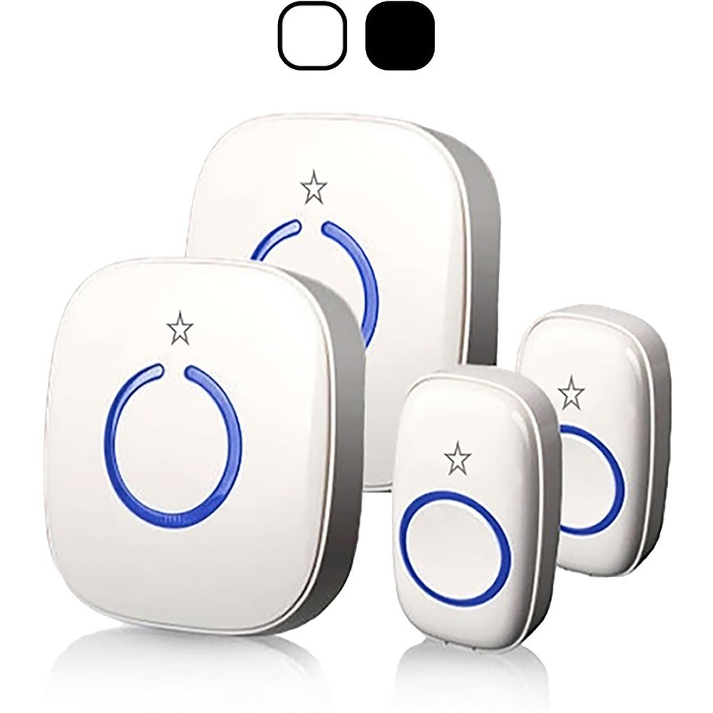 STARPOINT Expandable Wireless Multi-Unit Long Range Doorbell Chime Alert System, Base Starter Kit includes 2 Plugin Receivers & 2 Remote Button Transmitter, Model LCBase, White