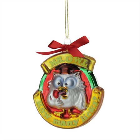 Northlight Seasonal Candy Lane Tootsie Roll Pop Orignal Filled Lollipop ''Mr. Owl'' Glass Christmas Ornament - Christmas Lollipops