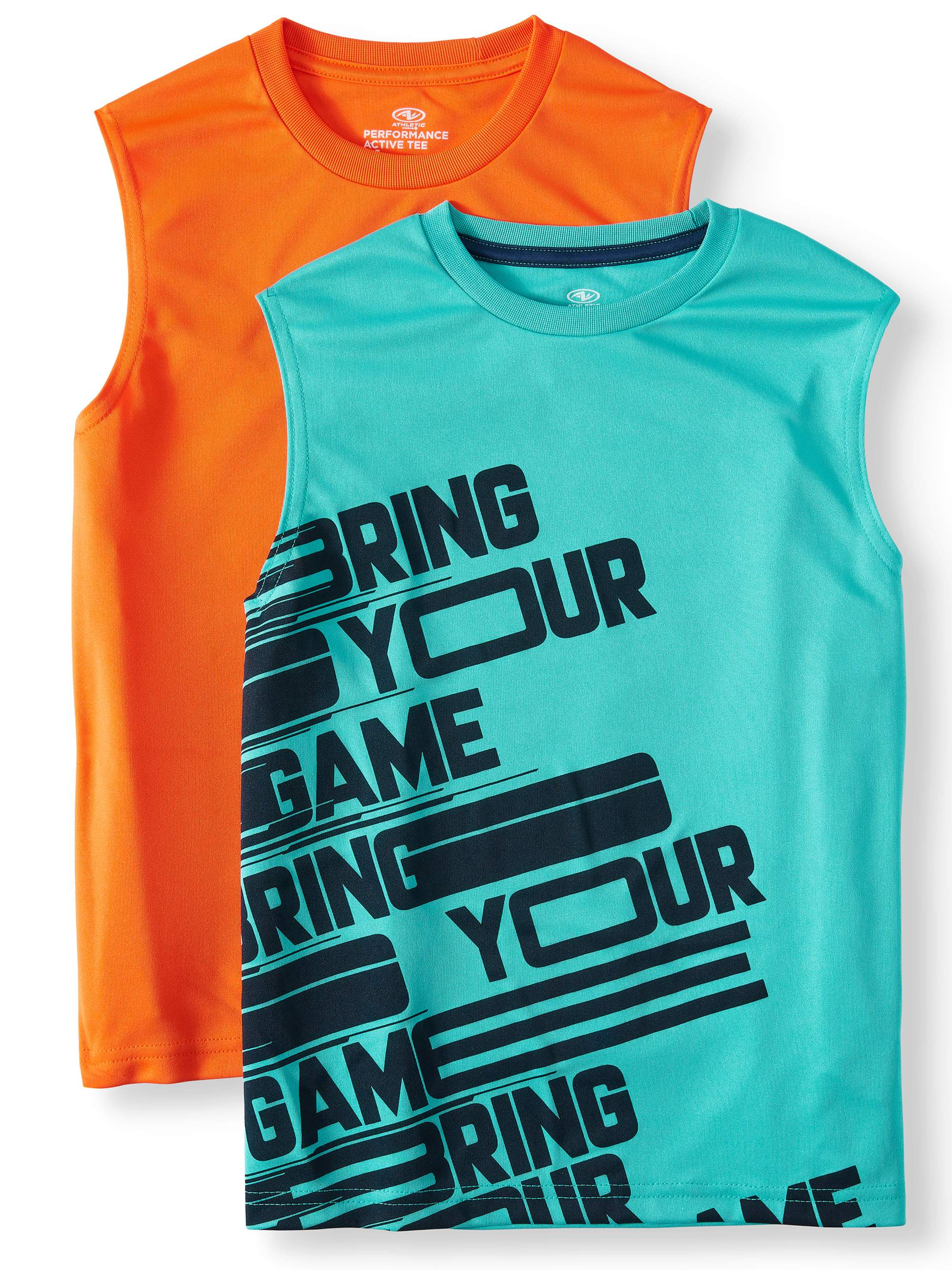 Graphic and Solid Muscle Tank Top, 2-Pack Set (Little Boys & Big Boys)