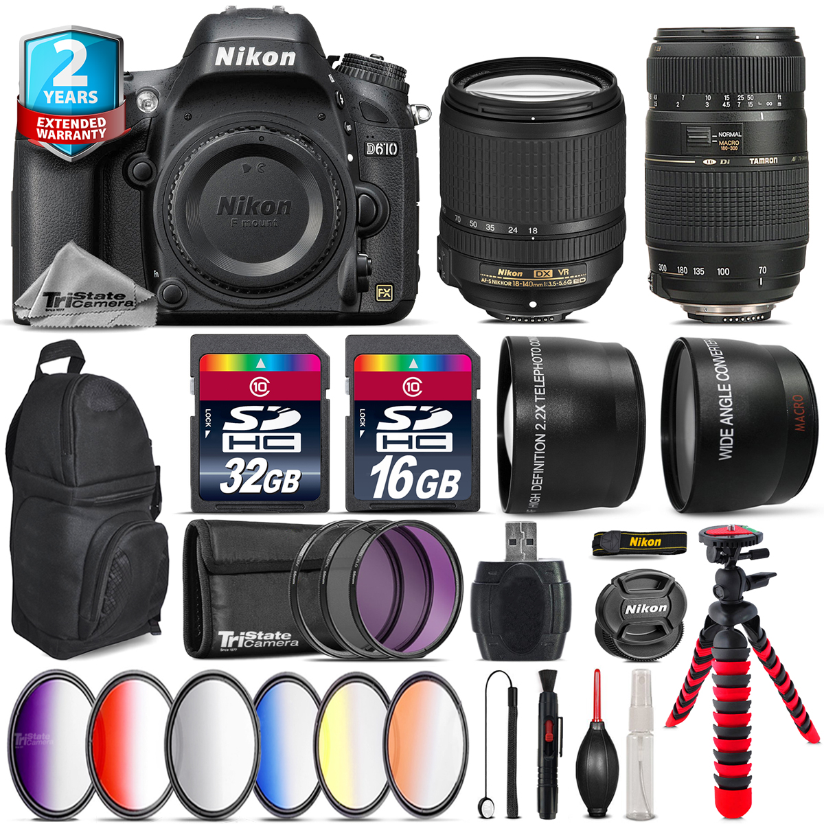 Nikon D610 DSLR Camera + AFS 18-140mm VR + Tamron 70-300mm + Backpack 48GB Kit by Tri StateCamera