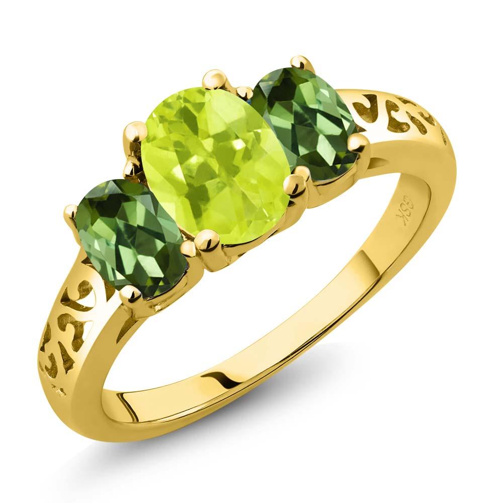 2.10 Ct Oval Yellow Lemon Quartz Green Tourmaline 18K Yellow Gold 3-Stone Ring by