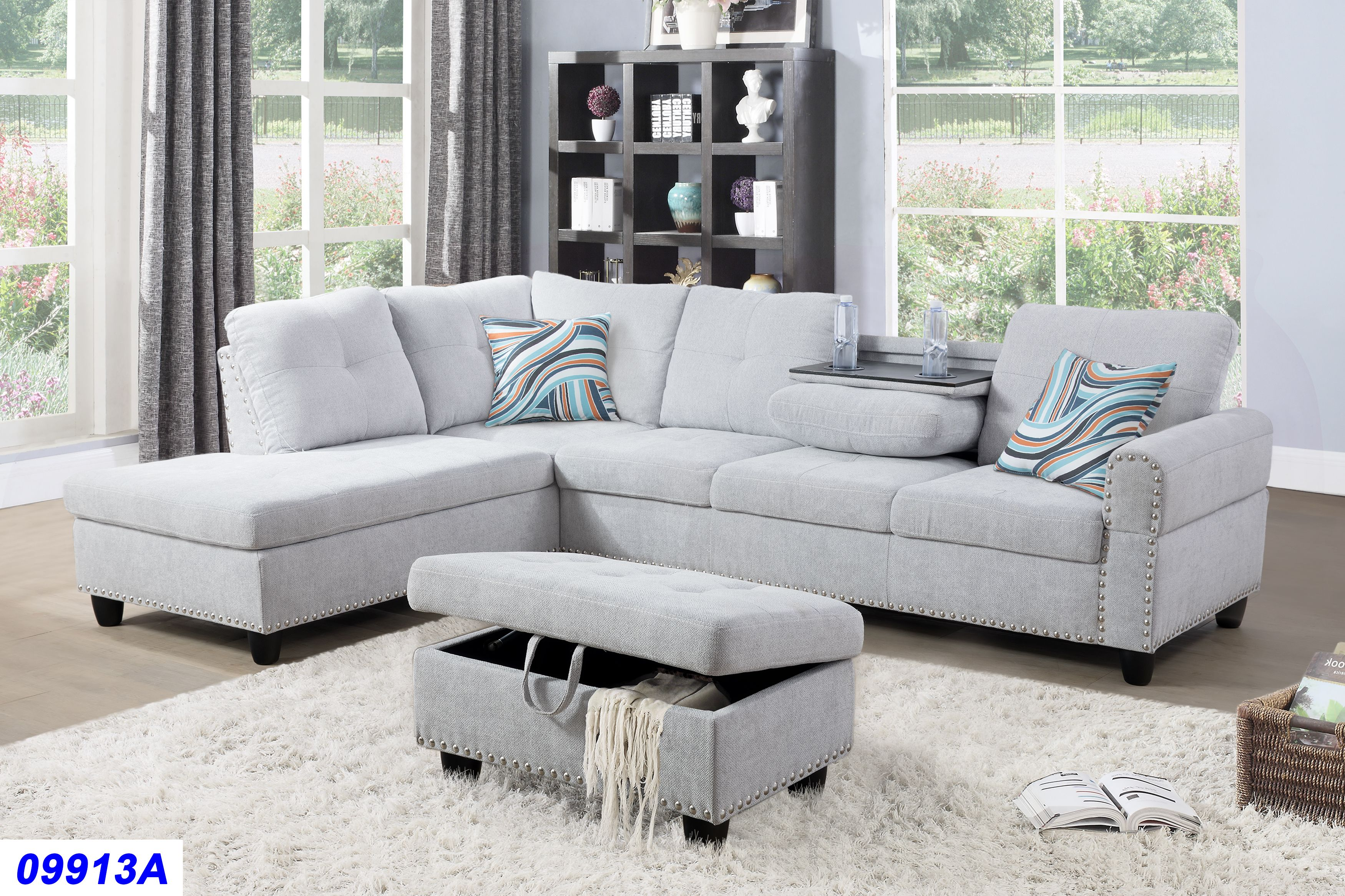 Laurice Light Grey Linen Sectional Sofa With Ottoman