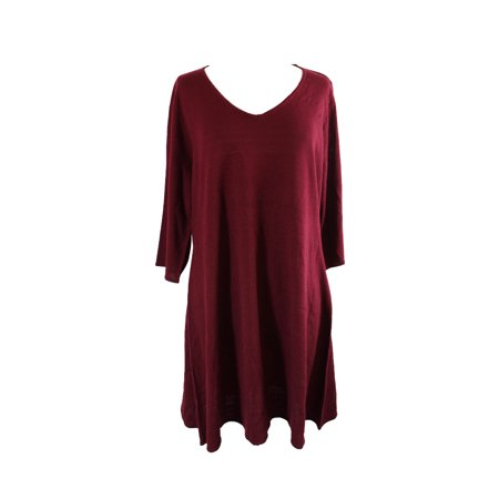 Ny Collection Plus Size Cranberry Fit Flare Sweater Dress 2x