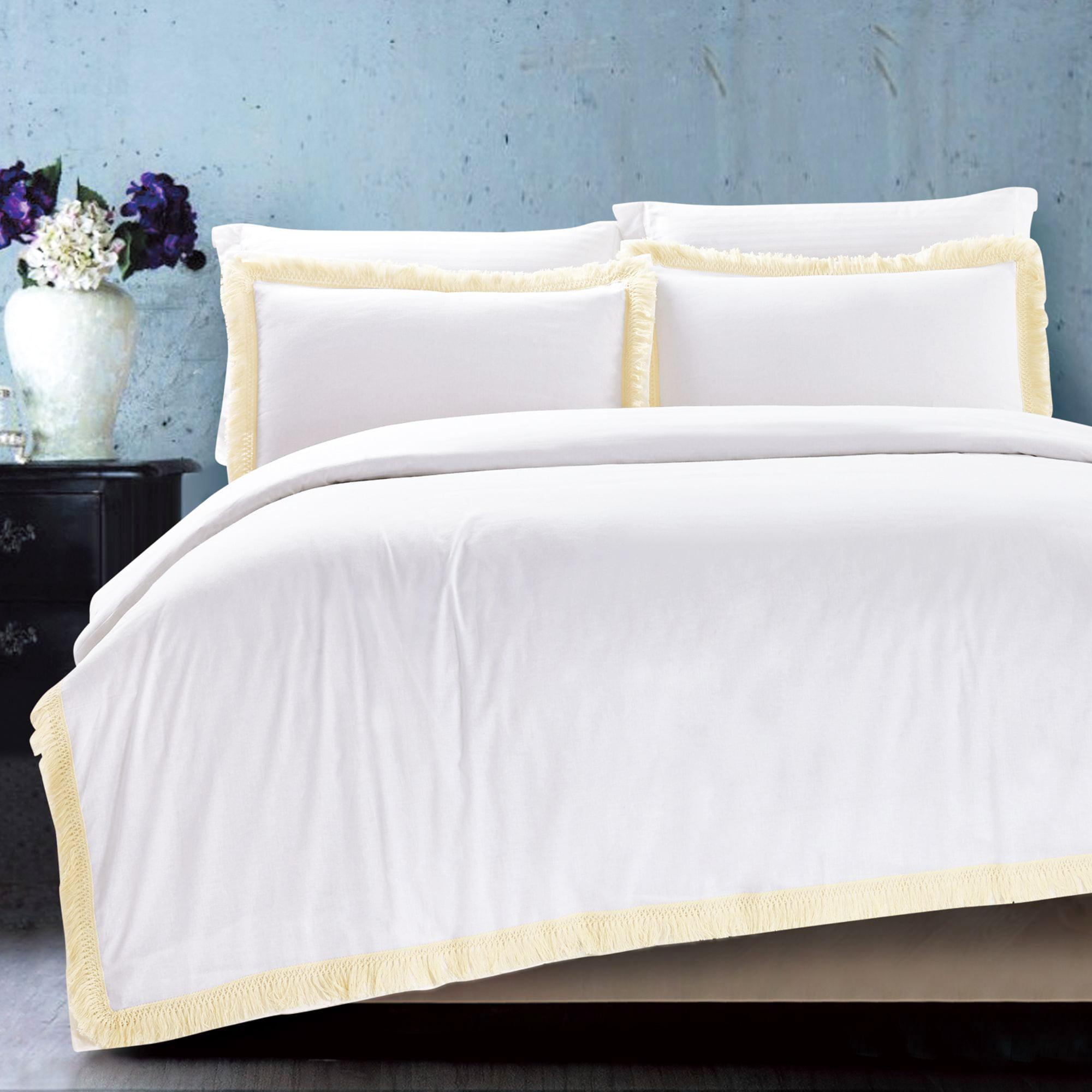 California Design Den Fringes Duvet Cover Set Cotton White, King 3-Piece