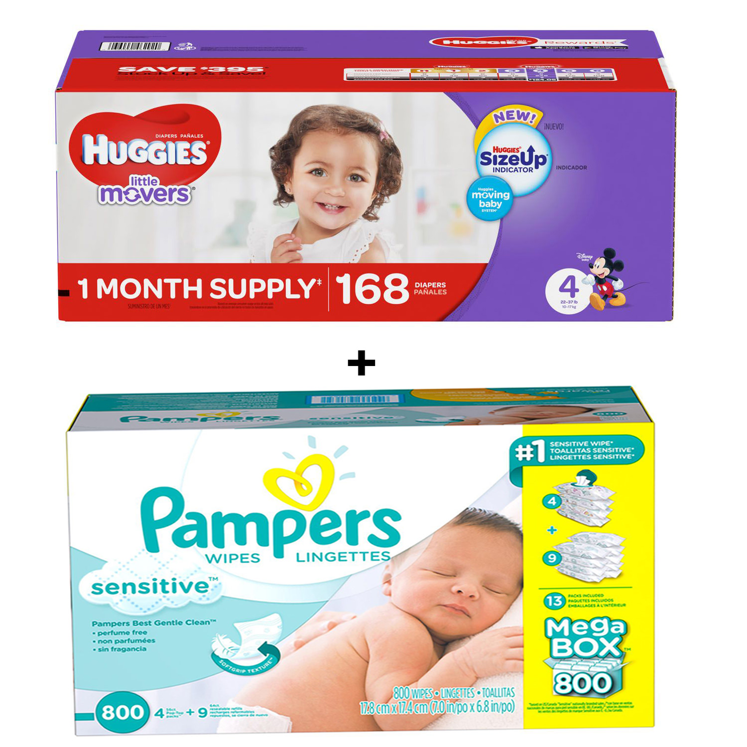 Huggies Little Movers Diapers 4 -168 ct. (22-37 lbs.) Bundles with Pampers Sensitive Baby Wipes (800 ct.)
