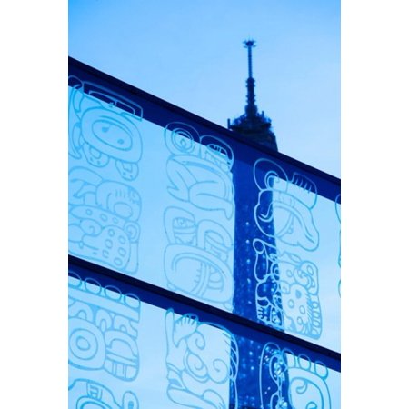 Eiffel Tower Viewed Through A Glass Wall Paris Ile De France France Poster Print By Panoramic Images  24 X 36