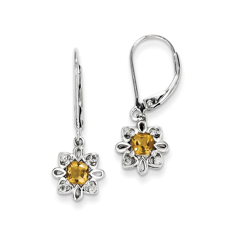 Sterling Silver Whiskey Quartz Diamond Earrings (1IN x 0.4IN )