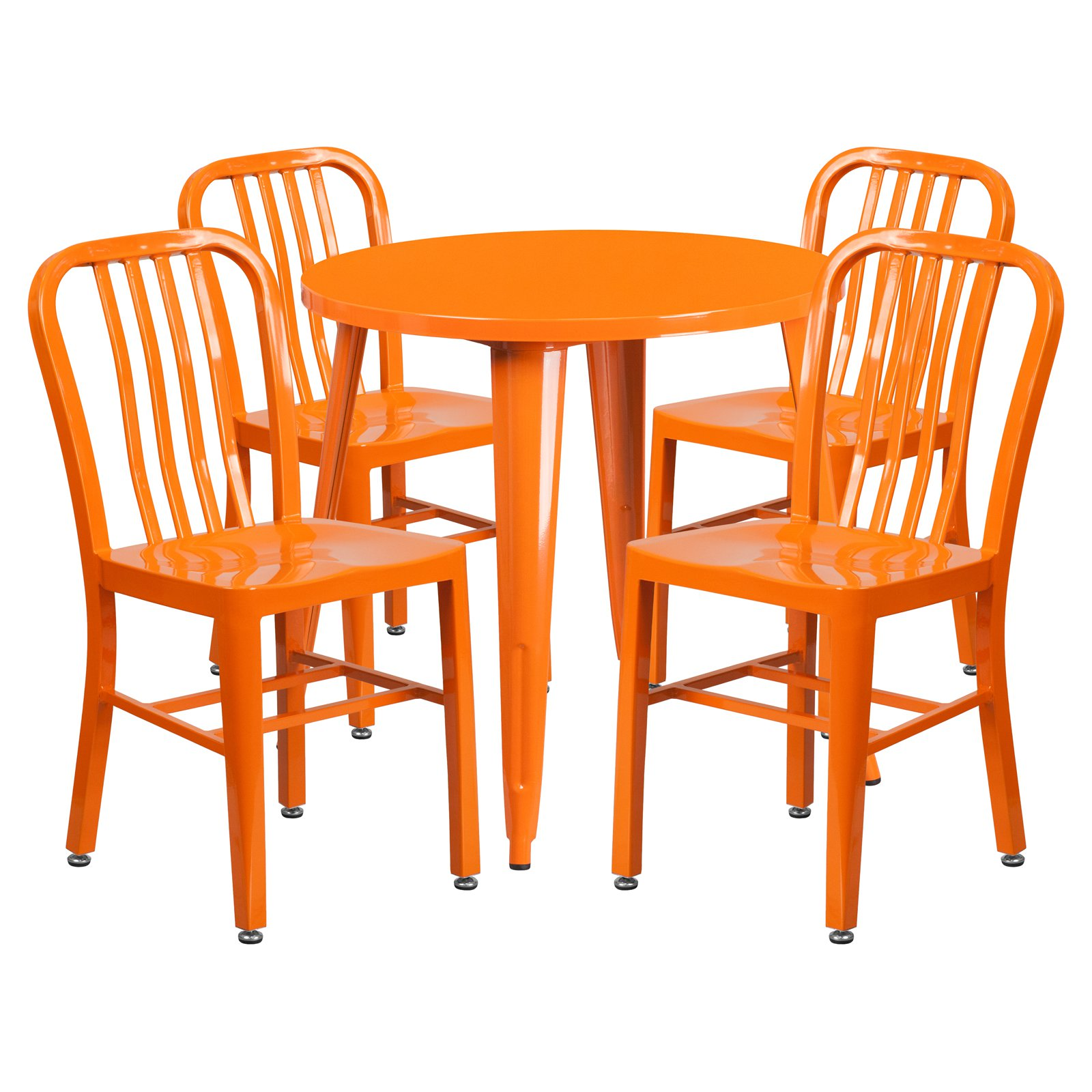 Flash Furniture 30'' Round Metal Indoor-Outdoor Table Set with 4 Vertical Slat Back Chairs, Multiple Colors