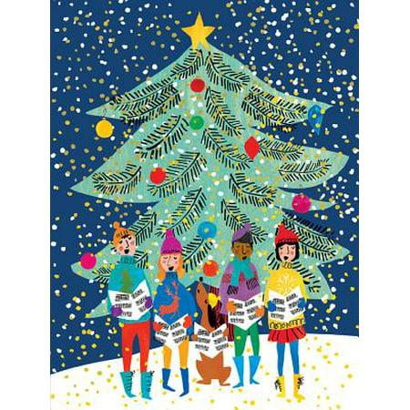 Christmas Carolers Large Embellished Holiday Notecards