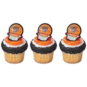 12 Oklahoma Thunder Basketball Cupcake Cake Rings Birthday Party Favors Cake Toppers