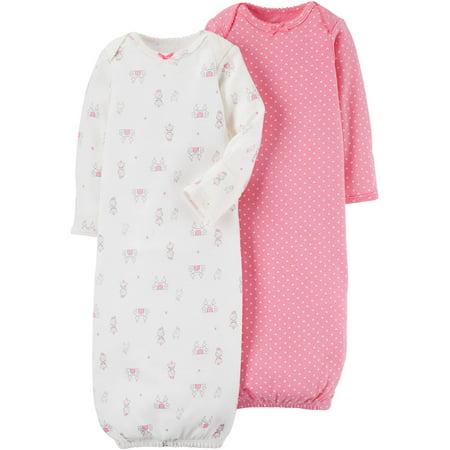 5e0860b95 Child of Mine by Carter s - Newborn Baby Girl 2 Pack Gown - Walmart.com
