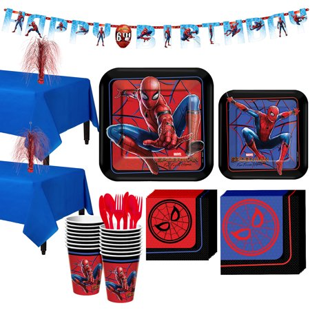 Party City Spider-Man Far: From Home Tableware Party Supplies for 16 Guests