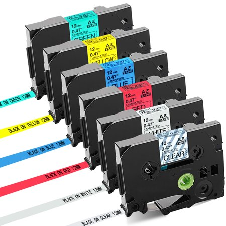 GREENCYCLE 6PK Compatible 12mm Black on Clear/White/Red/Blue/Yellow/Green TZ TZe-131 TZe-231 TZe-431 TZe-531 TZe-631 TZe-731 Laminated Label Tape for Brother P-touch PT-D210 D400 D600 Label (Brother P Touch Pt 90 Personal Label Maker)