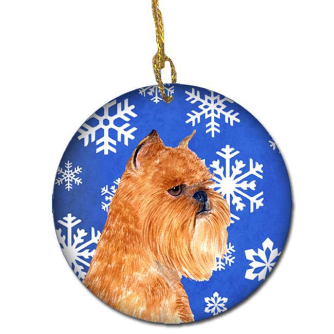 Carolines Treasures SS4632-CO1 Brussels Griffon Winter Snowflakes Holiday Christmas Ceramic Ornament - image 1 de 1