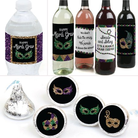 Mardi Gras - Masquerade Party Decorations & Favors Kit - Wine, Water and Candy Labels Trio Sticker Set - Party City Mardi Gras Decorations