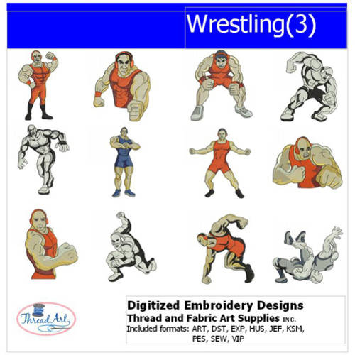 Threadart Machine Embroidery Designs Wrestling(3) CD