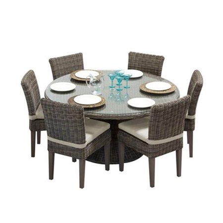 Tkc Cape Cod Vintage Stone Outdoor Patio Dining Table With 6 Armless