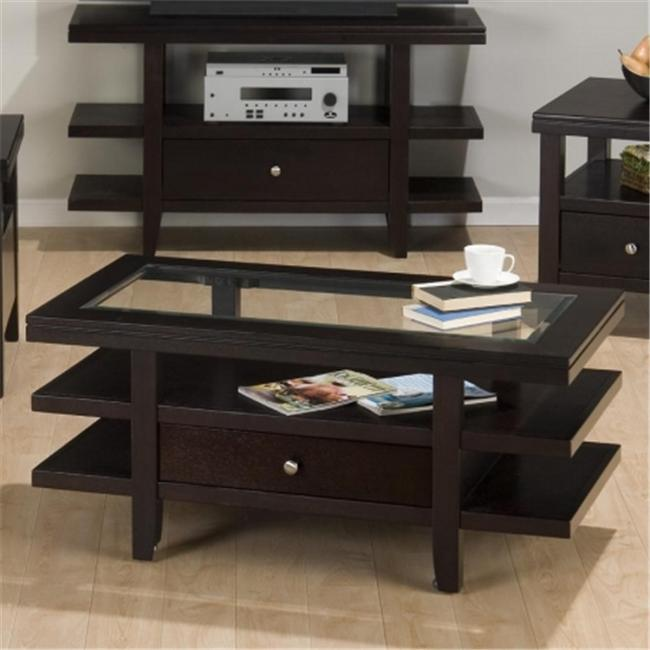 Jofran 091-1 Cocktail Table with Pull-Thru Drawer and 3 Tiered Shelves by