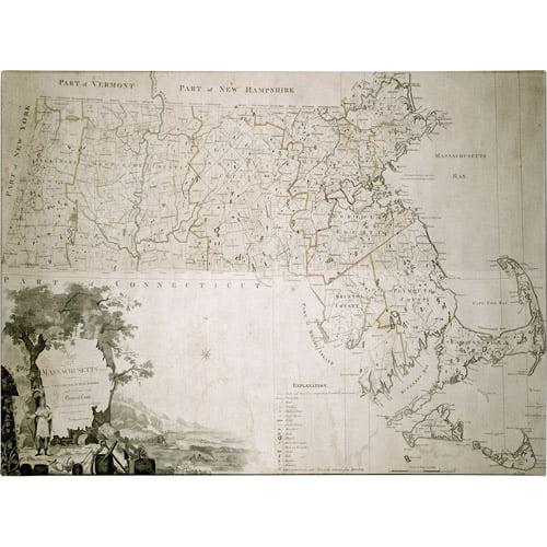 Trademark Art 'Map of the State of Massachusetts, 1801' Canvas Art
