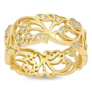 Yellow Gold-Tone Filigree White CZ Wide Ring ( Sizes 5 6 7 8 9 10 11 12 ) 925 Sterling Silver Band Rings (Size 5)