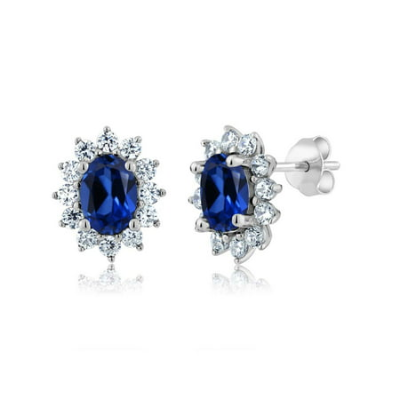 3.00 Ct 7x5mm Oval Blue Simulated Sapphire 925 Sterling Silver Stud (Teardrop Shaped Sapphire Earrings)