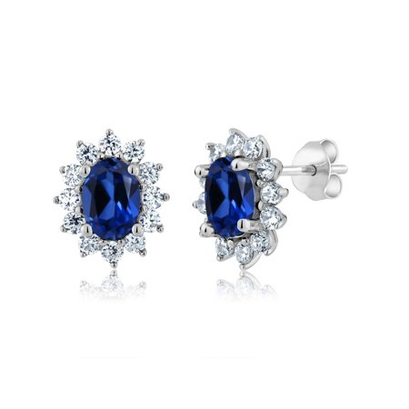 3.00 Ct 7x5mm Oval Blue Simulated Sapphire 925 Sterling Silver Stud Earrings