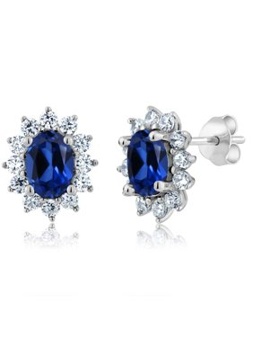 b79d187d4 Product Image 3.00 Ct 7x5mm Oval Blue Simulated Sapphire 925 Sterling  Silver Stud Earrings