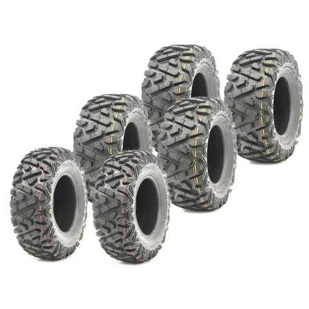 Set of 6 WANDA ATV tires 25x8-12 & 25x11-10 for 96-97 Polaris Magnum 425L 6x6 ()