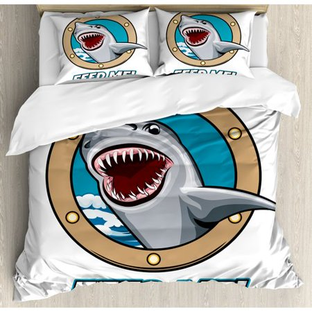 Ambesonne Sea Animal Funny Vintage Quote with Hungry Hound Shark Head in Ship Window Humor Print Duvet Set