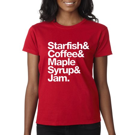 Trendy USA 457 - Women's T-Shirt Starfish Coffee Maple Syrup Jam XS Red (Mens Pink Leotard)