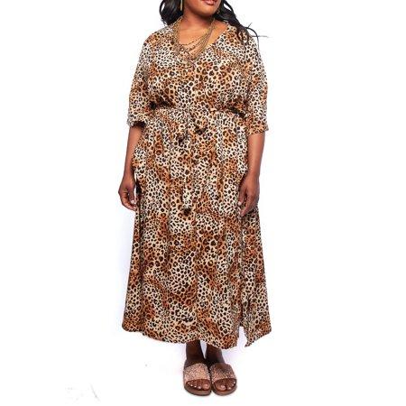 740f8906c9 Womens Plus Size Cheetah Print Wrap Around Tie 3 4 Sleeves Maxi dress  16308D-