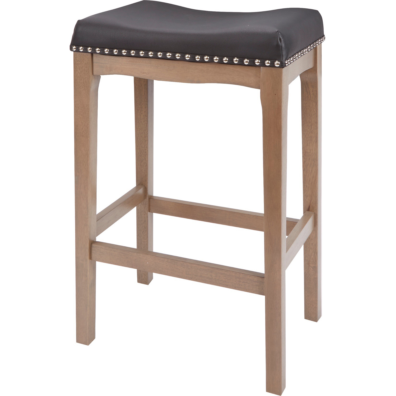 "Better Homes & Gardens Wayne 29"" Saddle Stool, Black Faux Leather with Rustic Grey Finish"