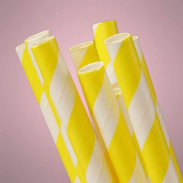 10 ct. Yellow Striped Paper Straw | Quantity: 10 | Length - 7 3/4"